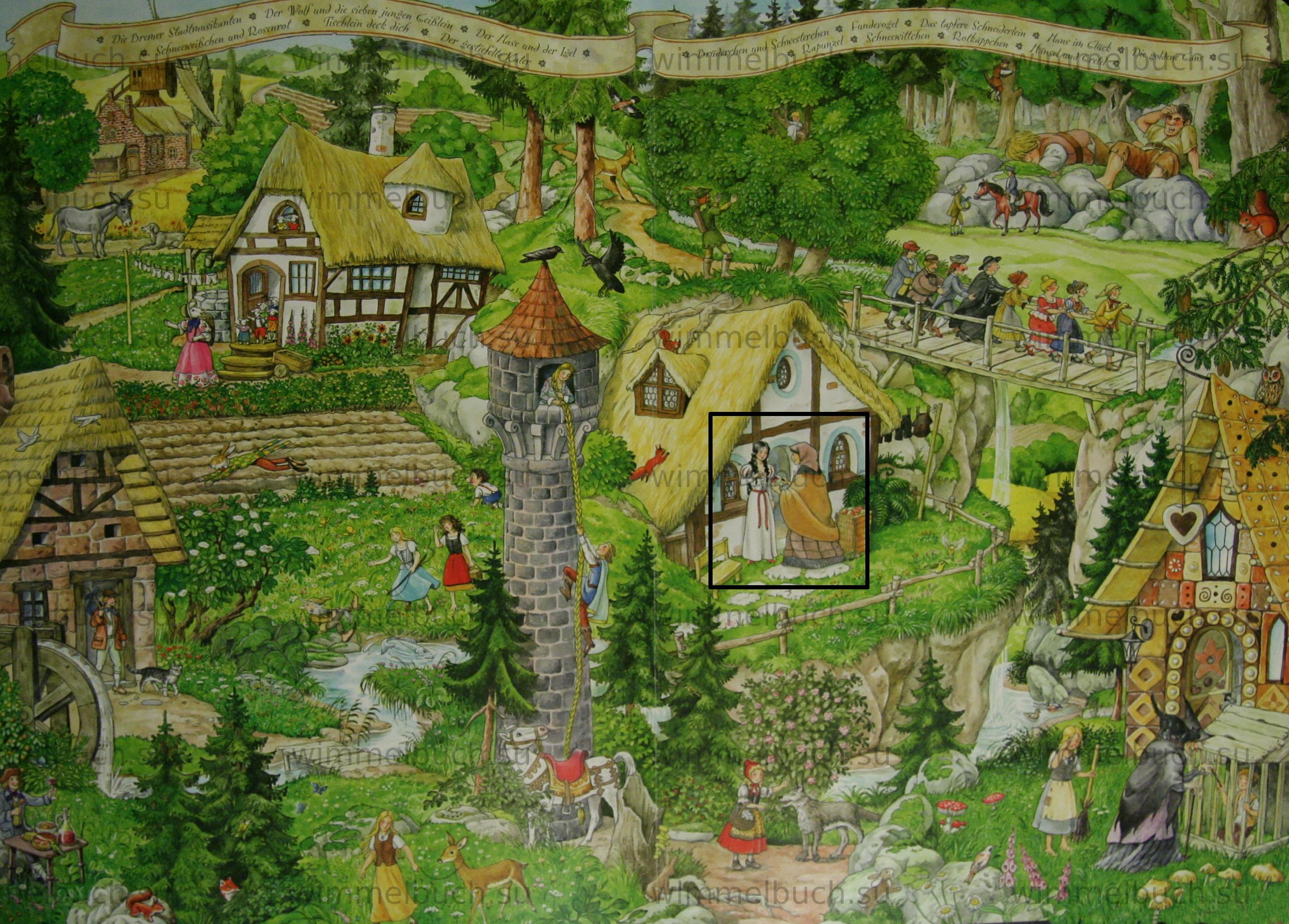 Белоснежка и семь гномов в Wimmelbuch Märchenland